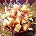 Brochettes jambon et melon