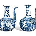 A pair of blue and white kraak kendi. Ming dynasty, Wanli period - Sothebys