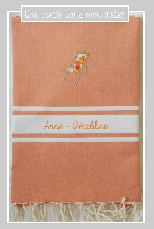 fouta-personnalisée-Liberty betsy orange