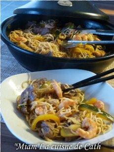 """ღ """" MIAM """" WOK de Nouilles Chinoises Crevettes -Bœuf et légumes"""