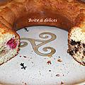 Gâteau au yaourt mi-framboise et mi-pépites de chocolat