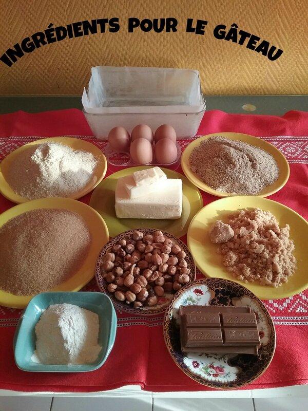 Gâteau aux poies, noisettes torréfiées et pralinoise 030