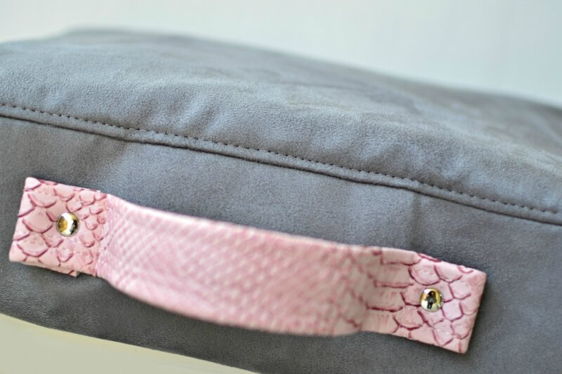 cartable preppy femme rose et gris