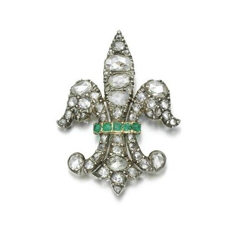 Emerald and diamond brooch, late 19th century