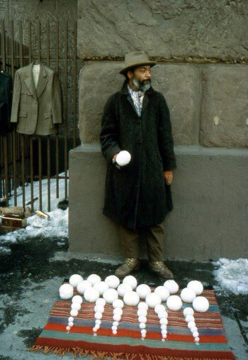 'David Hammons selling the world's most perfectly round snowballs on the Lower East Side, 1980s'