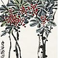 Qi baishi (1864-1957), sparrow beneath red berry bush