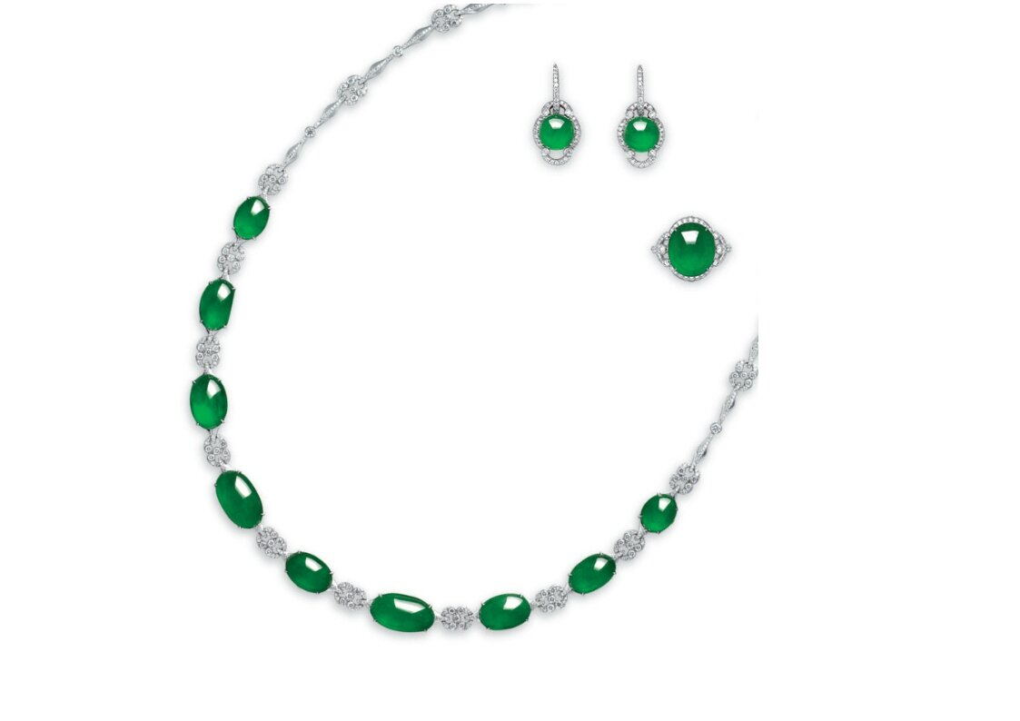 A suite of jadeite and diamond jewellery