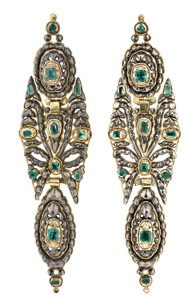 Catalan emerald earrings, late 18th-early 19th Century