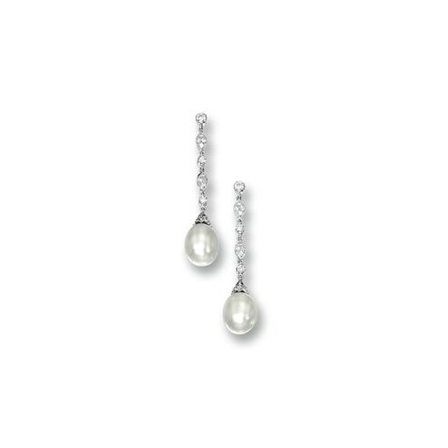 Pair of Natural Pearl and Diamond Pendent Earrings