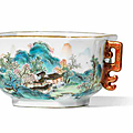 A rare famille rose 'tang ying' 'landscape' cup, qianlong period (1736-1795)