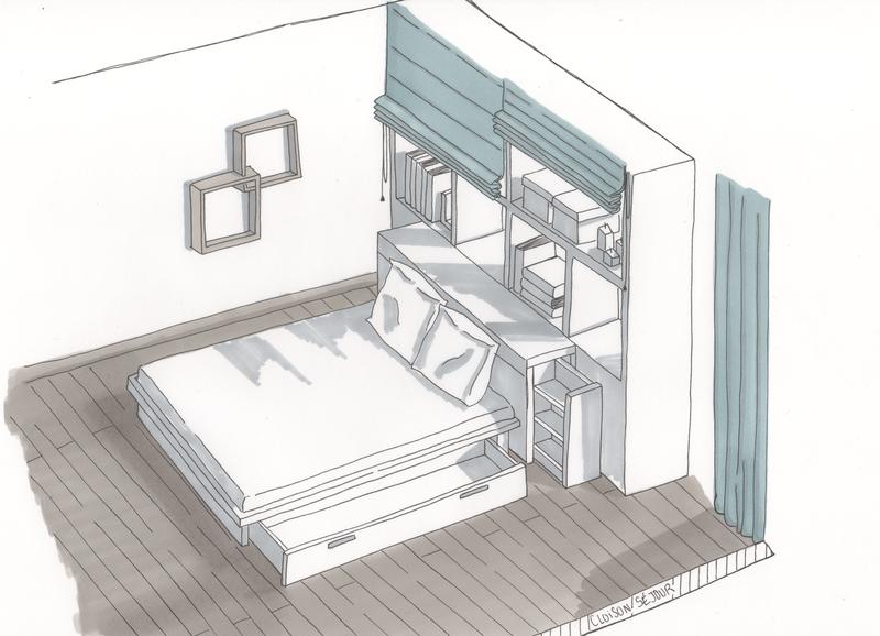 Projet professionnel d coration d 39 un appartement t moin ii lignes formation d coration for Cloison separatrice bureau