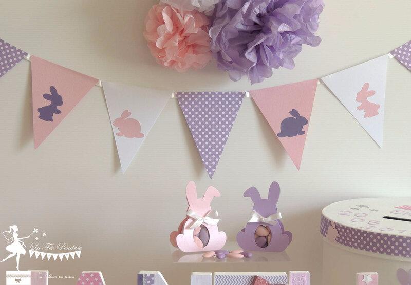 decoration bapteme theme lapin guirlande fanion pompon boite dragees urne rose mauve