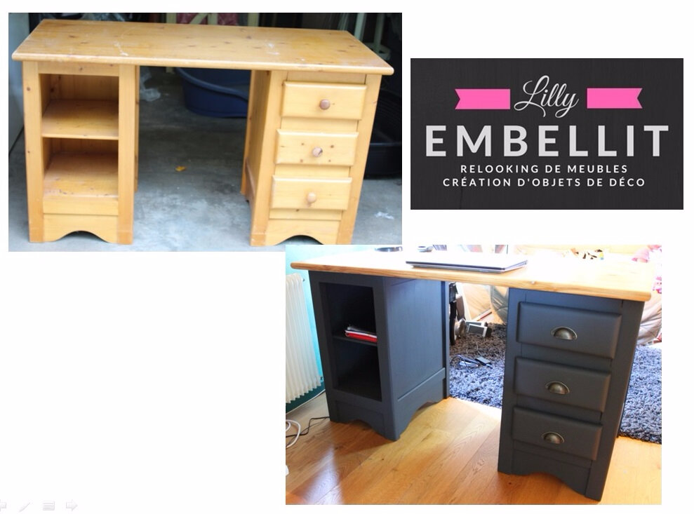 relooking bureau en pin relooking de meubles cr ation d 39 objets de d coration. Black Bedroom Furniture Sets. Home Design Ideas