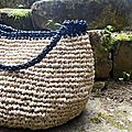 panier boule en raphia