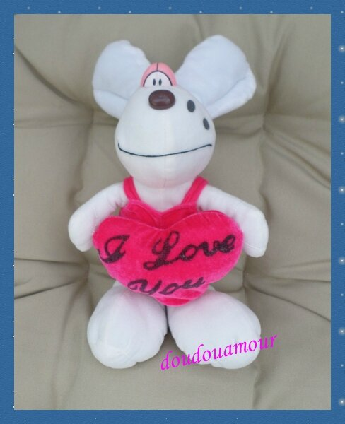 Peluche Doudou Souris Style Diddlina Coeur Rose I Love You Safety Toys