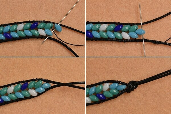 Pandahall Instruction on How to Make Leather Cord Wrap Bracelet with 2-hole Seed Beads (5)