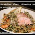 Riz aux shiitaké, algues, épinards et crevettes