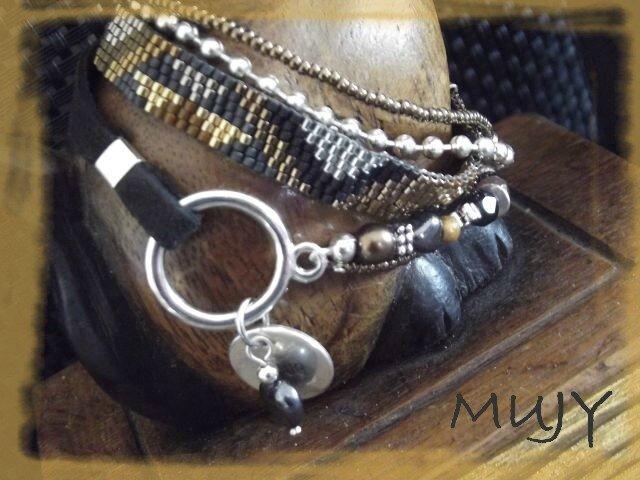 bracelet 3 tours perles tissées détail