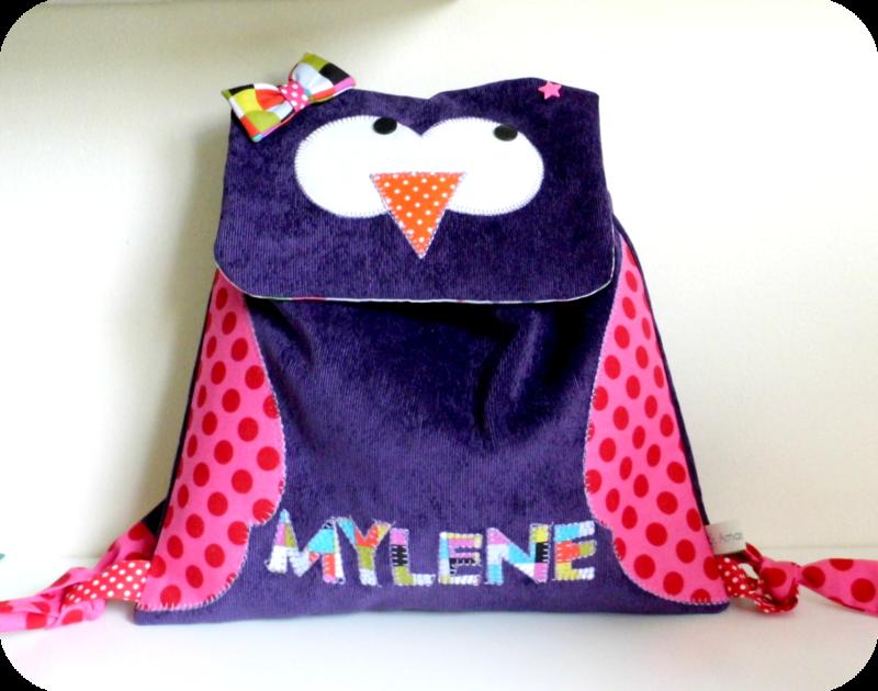 Sac à dos Hibou violet Mylène