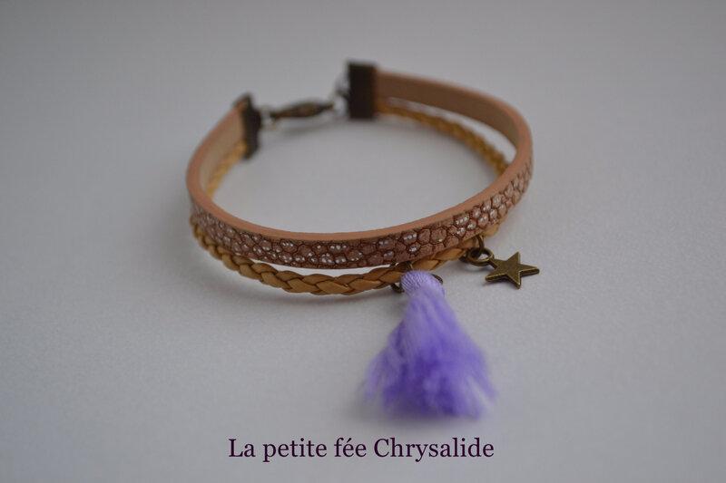 Bracelet cuir marron aux effets craquelés (2)