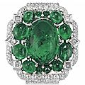 An Art Deco emerald and diamond brooch, by Cartier