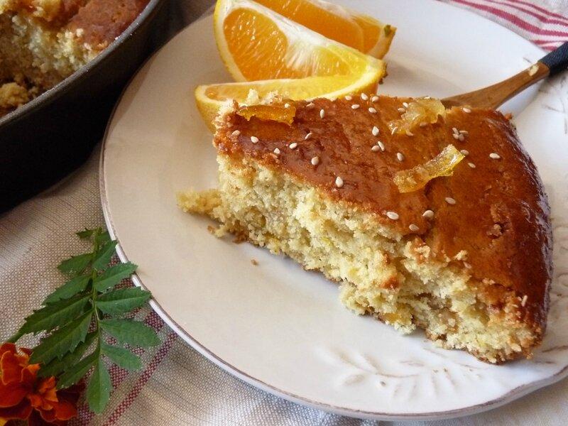 Gâteau au tahini et oranges confites