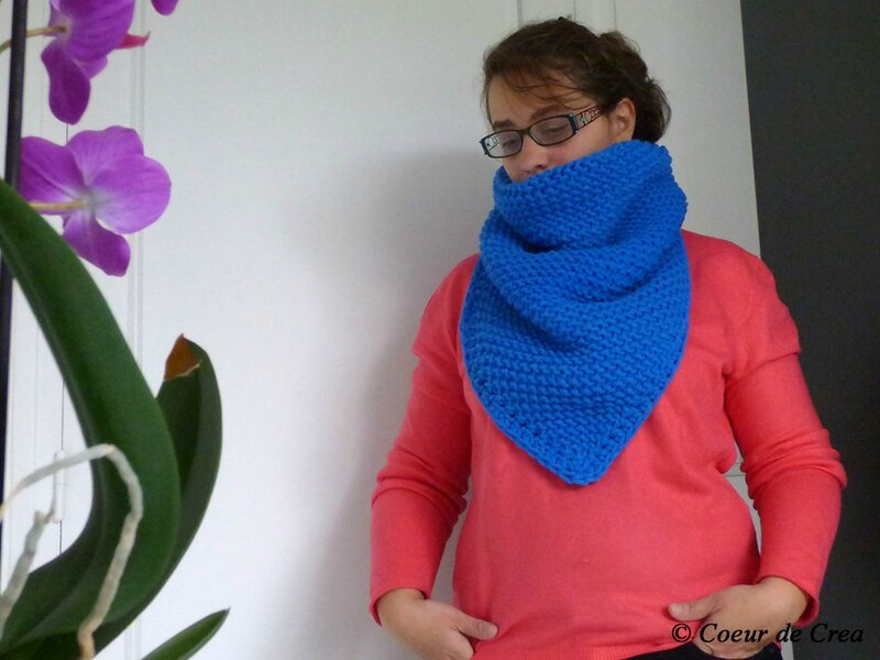 Snood bleu au crochet tunisien - 3