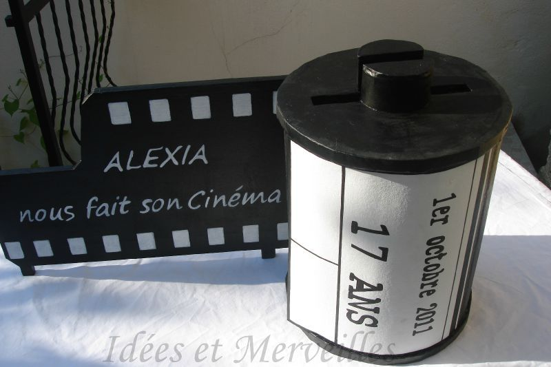 Urne theme cinema idees et merveilles for Centre de table cinema