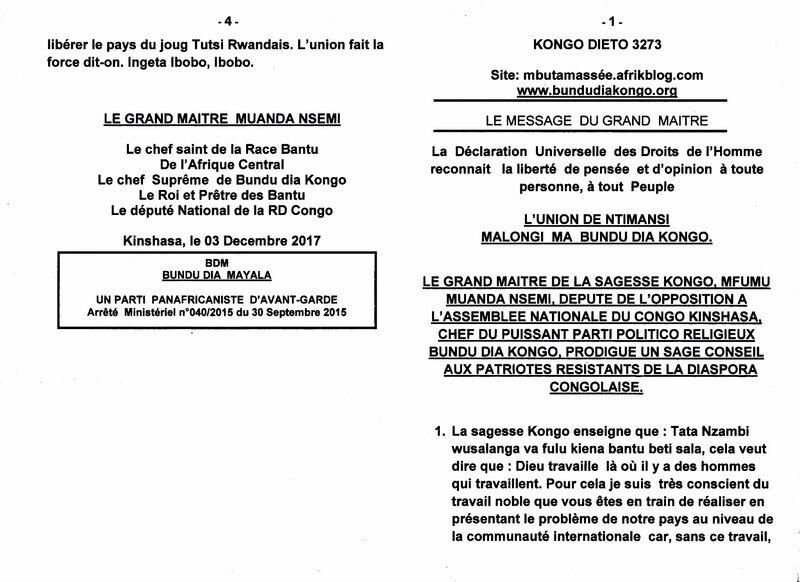 AUX PATRIOTES RESISTANTS DE LA DIASPORA CONGOLAISE a