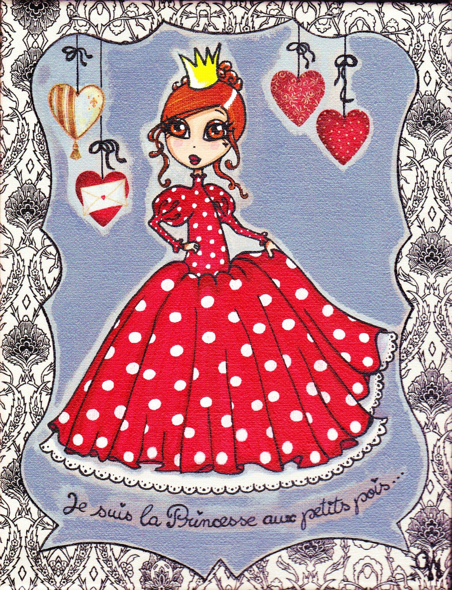 """""""La Princesse aux petits pois"""" - Toile 20X30cm - Peinture acrylique et serviettage"""