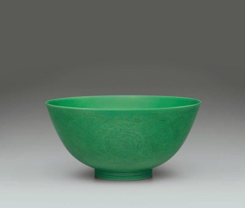 A rare incised green-glazed bowl, Yongzheng six-character mark in underglaze blue within a double circle and of the period (1723-1735)