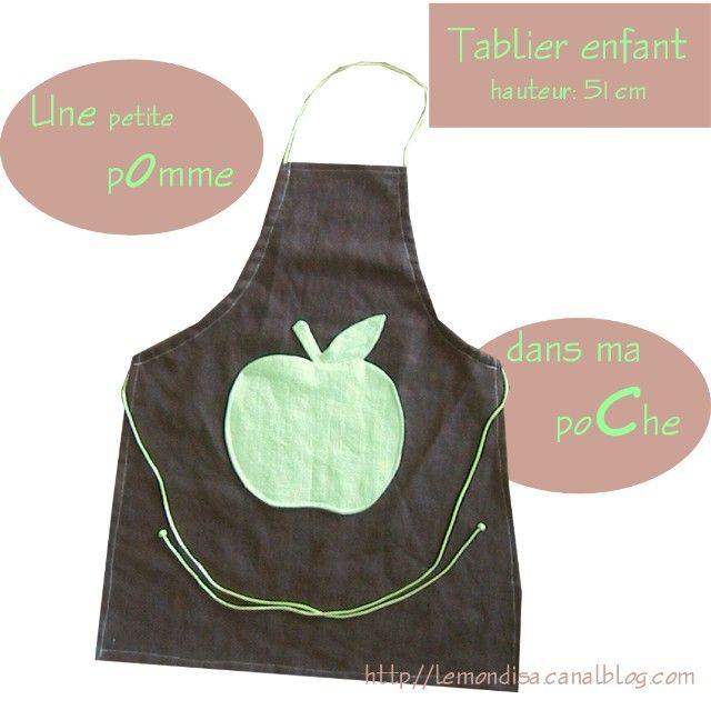 tablier enfant chocolat poche pomme 51 cm