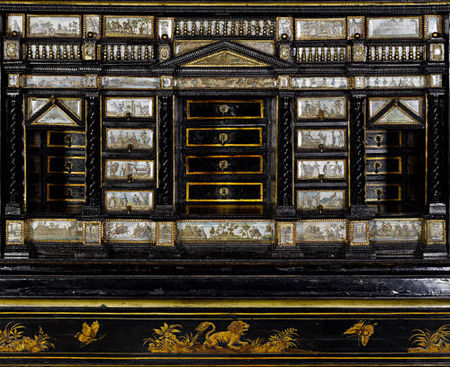 An_Italian_mid_19th_century_black_and_gilt_Japanned_and_painted_cabinet_on_stand2