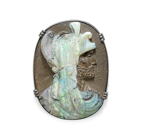 A late 19th century opal cameo brooch, probably by Wilhelm Schmidt (2)