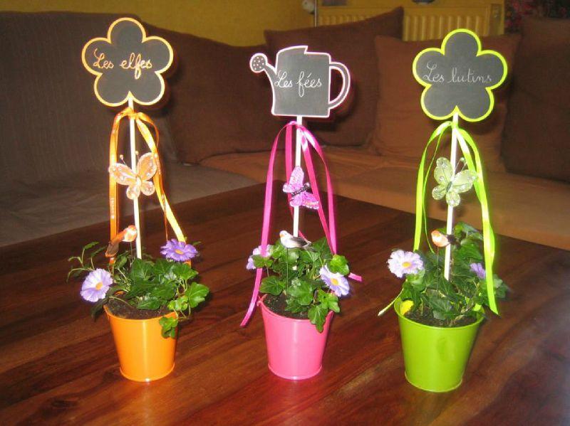 B-Mariage thème Fées Pots fleuris
