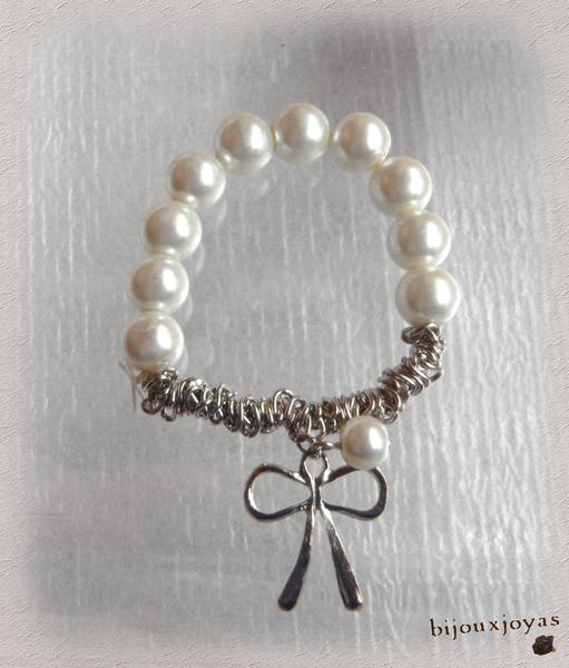 Bracelet Noeud Métal Argenté Perles Nacrées Blanches Elastique