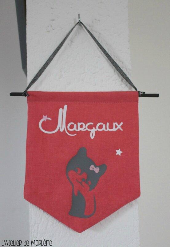 fanion personnalisé chat Margaux