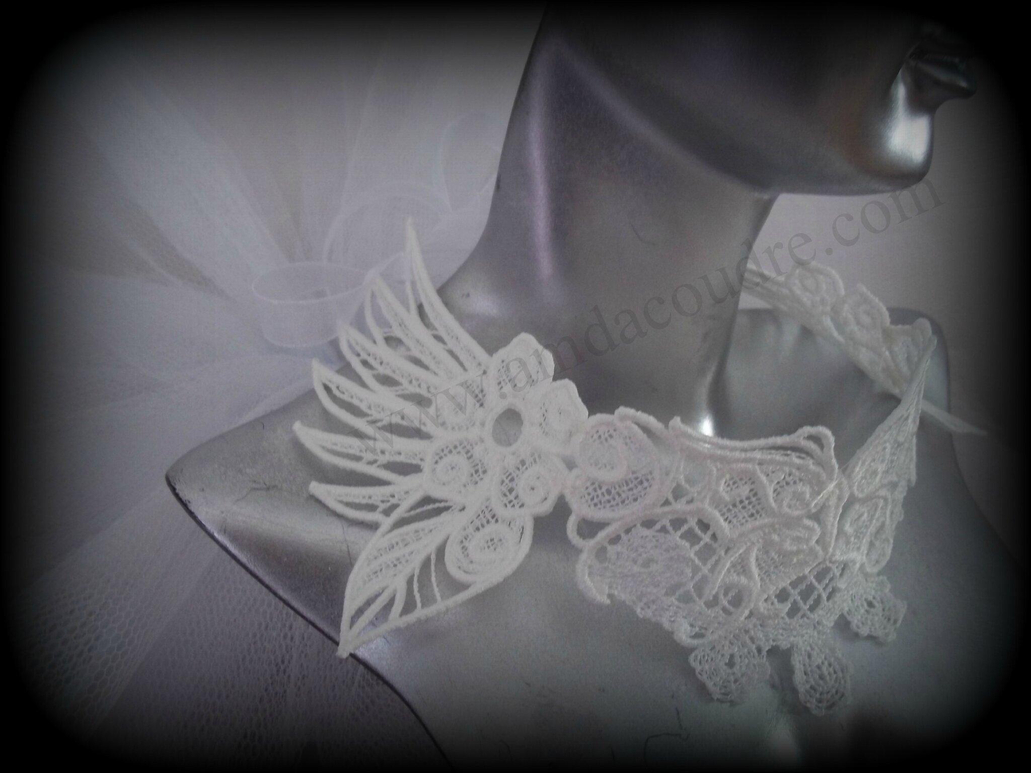 accessoire de mariage, tour de cou pour la mariée, ras de cou en dentelle création artisanale par AMD A COUDRE