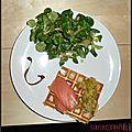 Gaufres salées saumon - poireaux