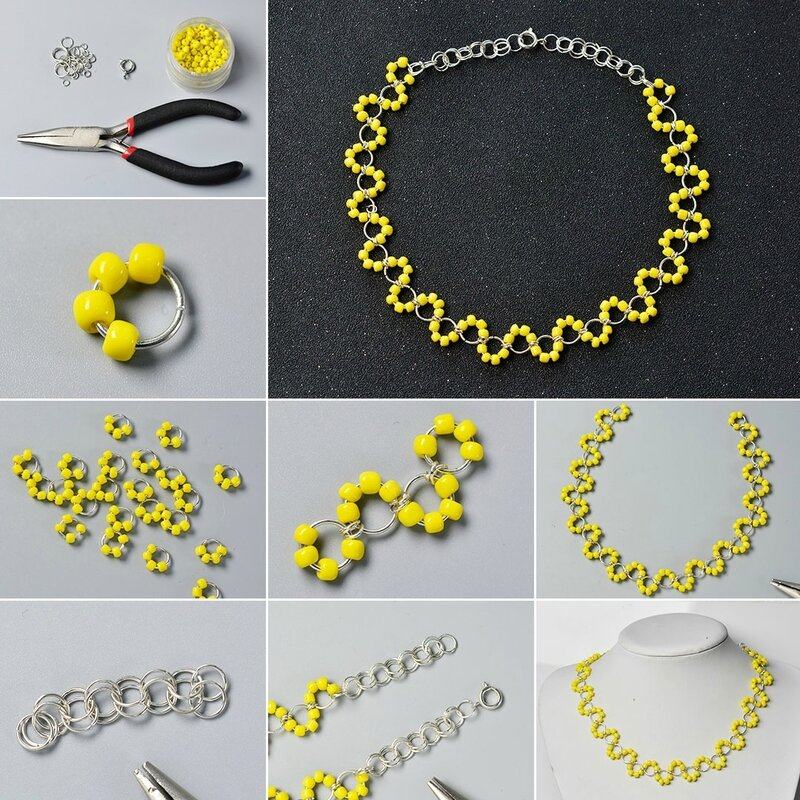 Pandahall-Tutorial-on-How-to-Make-a-Yellow-Seed-Bead-Necklace-with-Jump-Rings