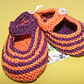 chaussons fille rayés TWIN violet orange