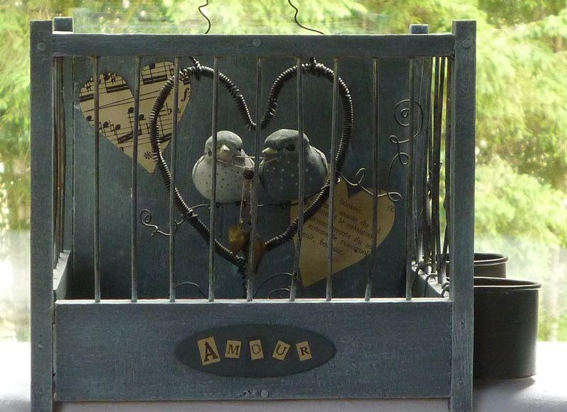 Amour en cage coeur de coton sur toile de lin - Fruit cage d amour ...