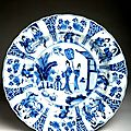 Chinese porcelain deep plate, kangxi (1622-1722) mark and period, qing dynasty