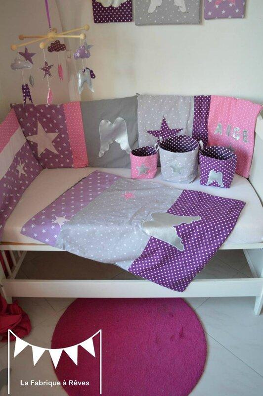 D coration chambre b b et linge de lit parme violet rose for Chambre violet et rose