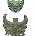 Two archaic bronze 'taotie' masks, Late Shang and Western Zhou Dynasties