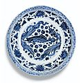 A blue and white 'fish' charger. yuan dynasty, 14th century