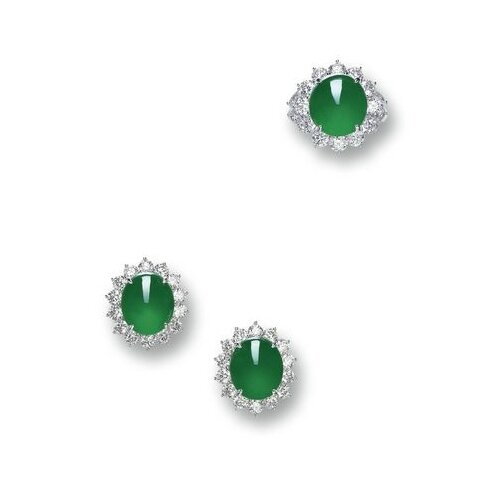 Jadeite and Diamond Ring and Pair of Matching Earrings