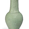 A Longquan celadon-glazed 'Phoenix tail' vase, Ming Dynasty (1368-1644)