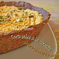 Tarte sale  la noisette, crme carottes et roquefort 