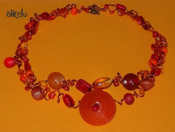 Collier zig orange_rouge